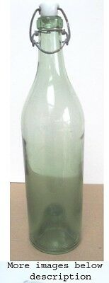 "Vintage BOTTLE,Light Green,PORCELAIN TOP With CLAMP,Pushed Up Bottom,12""Tall"