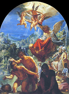 The baptism of Christ by Elsheimer  - Life of JESUS CHRIST in Art on Canvas