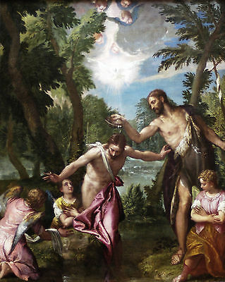 The baptism of Christ by Veronese  - Life of JESUS CHRIST in Art on Canvas