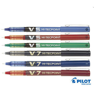 Pilot Hi-Tecpoint V5 / V7 - Liquid Ink Roller Ball Pen Black Blue Red 0.5 / 0.7