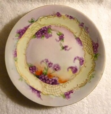Vintage D & C Delinieres Limoges FRANCE Hand Painted Plate Purple Lilacs Signed