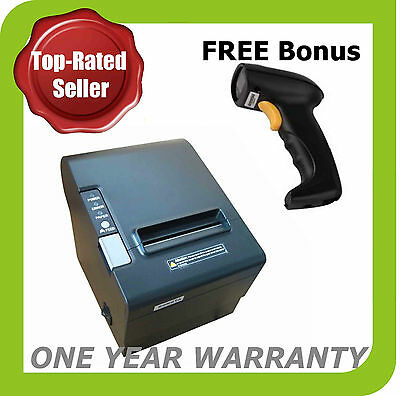 POS Thermal Receipt Printer 80mm (USB/Ethernet/Serial) Bonus:USB Barcode Scanner