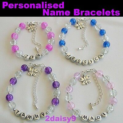 Girls Personalised Bracelet ~ Add Any Name ~ 7 Gorgeous Colours
