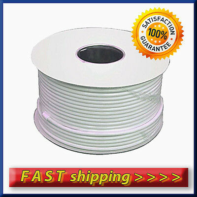 100m White Satellite TV Aerial Coax HD Digital Cable RG6 Saorview Freesat SKY