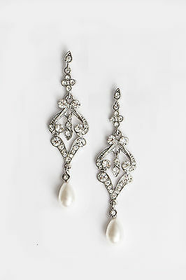 Vintage Scroll Pearl&crystal Earrings Bridal/bridesmaid/formal Wedding Jewellery