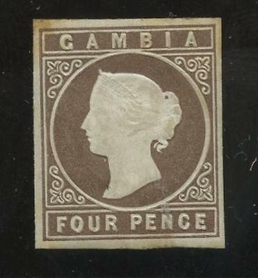 GAMBIA QV 1869 IMPERFORATE NO WATERMARK 4d MINT 4 MARGINS SG2...cv £500