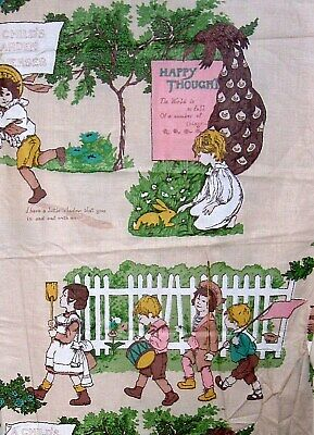 Vintage 36W Polished Cotton Home Decor Fabric Kate Greenaway lg scale BTY 1 yard