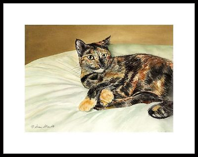 Mecca - Tortoise Shell Cat  Framed Mini Cat Art Print