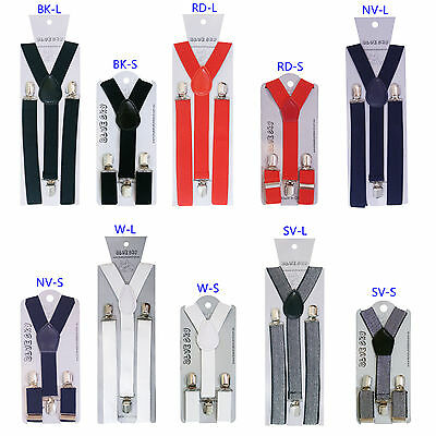 New Boys/Girls Braces Clips on Adjustable Red-White-Black-Silver-Navy 1-16YR