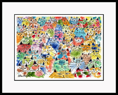 SPICE OF LIFE Whimsical Colorful Cats MATTED AP CAT ART CatmanDrew Drew Strouble