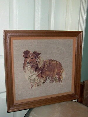Collie Dog Framed Needlepoint Wall Hanging