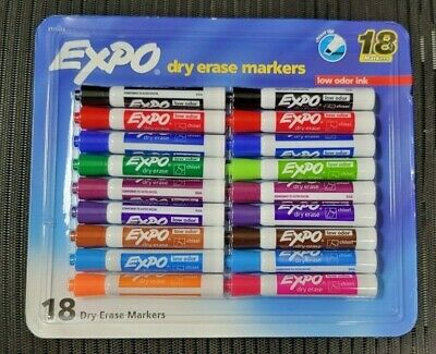 18 Expo LOW ODOR Dry Erase White Board Markers Assorted Colors Chisel Tip 44428
