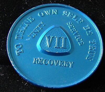 Rare Alcoholics Anonymous Vintage 7 year Aluminum Token Medallion Chip Coin 7-4