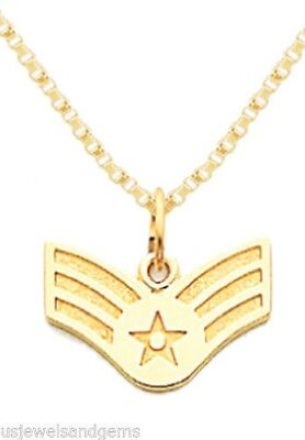 14k Yellow Gold US Air Force Senior Airman Military Pendant Rope Chain Necklace