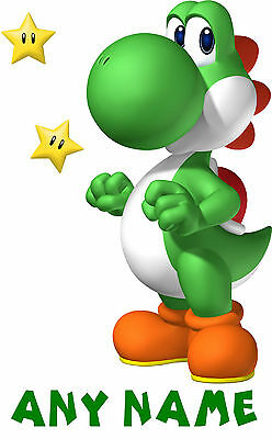 """SUPER MARIO """"** YOSHI ** PERSONALISED A5 T SHIRT TRANSFER for White/Light cotton"""