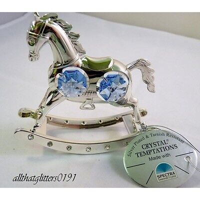 Crystal Temptations Silver Plated Rocking Horse Blue Christening/Newborn Gift