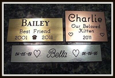 Custom Engraved Personalized Pet Grave Dog Cat Marker Brass Silver Copper to 12""