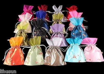 Wholesale10pcs Chinese Vintage Embroiderd Silk Jewerly Pouch Purse Gift Bag