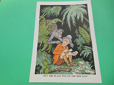 """Dr Seuss 1930s Cartoon Lithograph - """"Put the black ten on the red jack"""""""""""