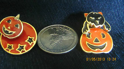 Halloween Movable Post Earrings/Pins ? With Orange Pumpkin & Black  Cat