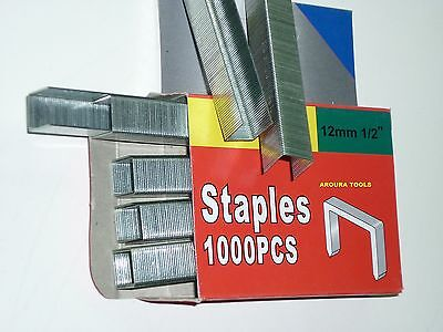 STAPLES FOR YOUR STAPLE GUN 6, 8,10,12 mm SIZES IN 1000pc BOXES - NEW