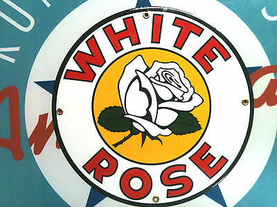 classic WHITE ROSE GASOLINE - PORCELAIN COATED SIGN - shipping discounts