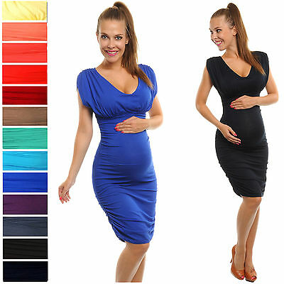 Happy Mama Women's Maternity Stretch Jersey Dress Fits Bigger Busts Ladies 525p
