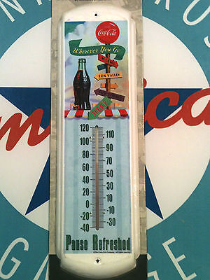 classic COCA COLA - REFRESH YOURSELF -  retro powder finished THERMOMETER