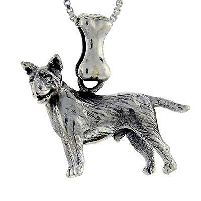 Sterling Silver SCOTTISH TERRIER DOG 3D Solid Pendant 18 Italian Box Chain Made in USA