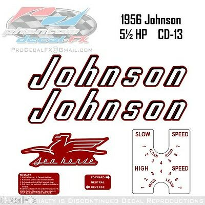 1956 Johnson 5½ HP Decals CD-13 Sea Horse Outboard Reproduction 6 Pce Vinyl 5.5