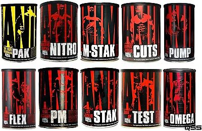 Universal Nutrition Animal Pak Cuts Nitro Flex M Stak Pump Pm Omega Test