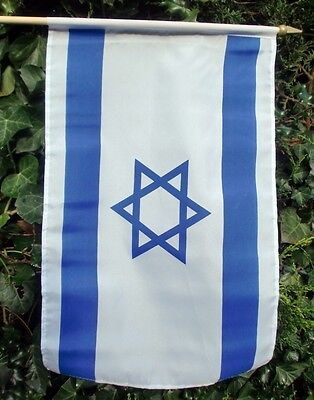 "ISRAEL LARGE HAND WAVING FLAG 18"" X 12"" WITH 24"" POLE flags JEWISH STAR OF DAVID"