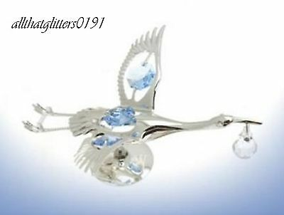 Crystal Temptations Silver Plated Blue Stork Christening/Newborn Gift