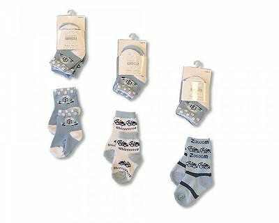 Baby Socks Boys 3 Pack Blue Cotton Rich - 2097