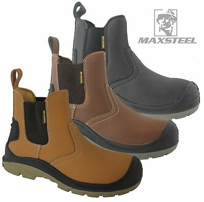 Mens Dickies Leather Safety Steel Toe Cap Ankle Boots Hiking Trainers Work Shoes