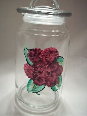 Hand painted Raspberry mum air tight jar