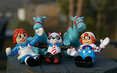 1988 Raggedy Ann Andy Two Camels with the Wrinkled Knees Panda Bear Figurines