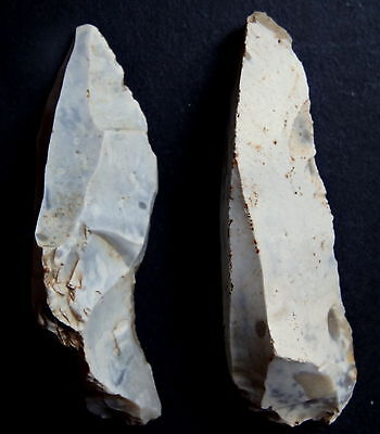 "2 MICROLITHE BLADE FLINT""Paris Basin"" MESOLITHIC/ NEOLITHIC/ FRENCH PREHISTORY"