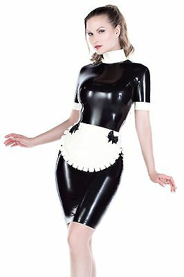 """new"" Stunning Rubber Couture Latex Maid Uniform Dress/apron All Sizes R1805"