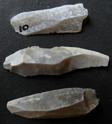 "3 MICROLITHE BLADE SCRAPER FLINT""Paris Basin""MESOLITHIC/NEOLITHIC/FRENCH PREHIST"