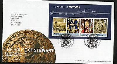 GB 2010 FDC Kings & Queens 3rd issue Stewart Minisheet MS3053 Linlithgow Stamps