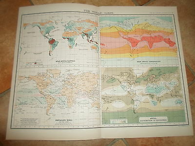 c1900 Map ~ THE WORLD CLIMATE ~ J Bartholomew From XXth Century Citizens Atlas