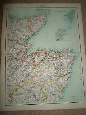 c1900 Map ~ SCOTLAND SECTION 2 ~ J Bartholomew From XXth Century Citizens Atlas