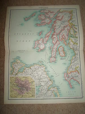 c1900 Map ~ SCOTLAND SECTION 3 ~ J Bartholomew From XXth Century Citizens Atlas