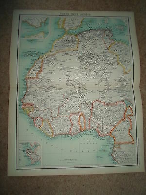c1900 Map NORTH - WEST AFRICA - J Bartholomew From XXth Century Citizens Atlas