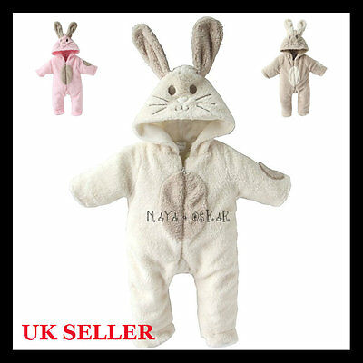 Baby Boy Girl Cute Bunny Animal Fluffy Rabbit Fleece Romper with Hood Outfit