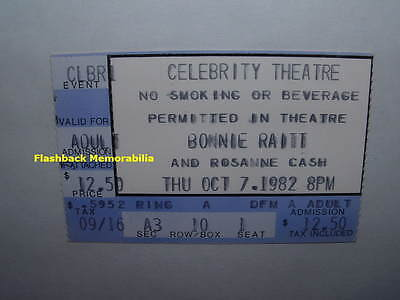 BONNIE RAITT / ROSANNE CASH Concert Ticket Stub 1982 PHOENIX Celebrity Theatre