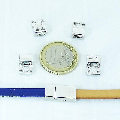 4 Set Cierres Magnéticos 17x8mm  T293H  Plata Tibetano Leather Beads Cuir Clasps