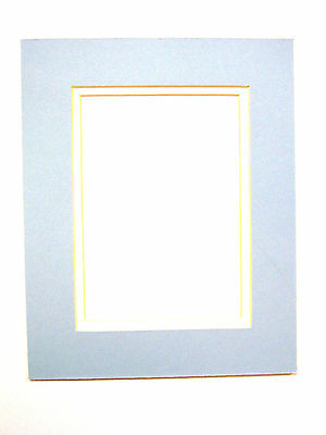 Picture Mat Double Mat 8x10 for 5x7 photo Baby Boy Blue with White Matting
