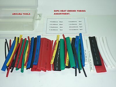 HEAT SHRINK TUBING 50pc ASSORTED SIZES & COLOURS - NEW IN PLASTIC BOX.